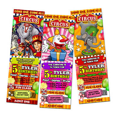 CIRCUS CARNIVAL CLOWN BIRTHDAY PARTY INVITATION TICKET custom FIRST 1ST -c1