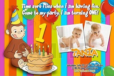 Curious George 1St Birthday Party Invitation C6 Photo - 20 New Designs !!!