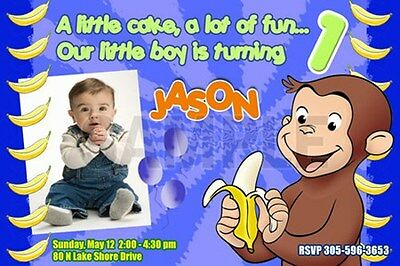 Curious George 1St Birthday Party Invitation C4 First Photo - New Designs !!!