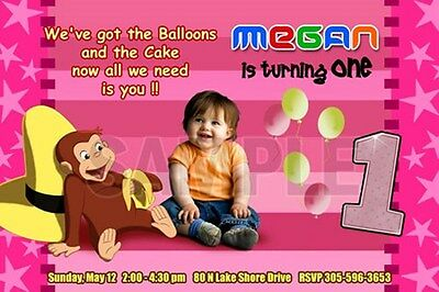 CURIOUS GEORGE 1ST BIRTHDAY PARTY INVITATION C4 FIRST PHOTO -20 designs!