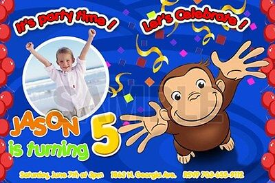 CURIOUS GEORGE 1ST BIRTHDAY PARTY INVITATION C3 CARDS TICKET PHOTO -20 designs!