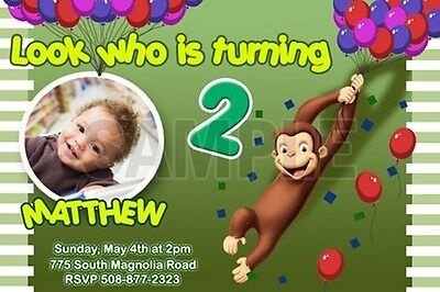 CURIOUS GEORGE 1ST BIRTHDAY PARTY INVITATION C2 CUSTOM INVITE PHOTO -20 designs!