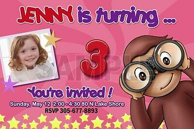 CURIOUS GEORGE 1ST BIRTHDAY PARTY INVITATION C2 PERSONALIZED PHOTO -20 designs!!