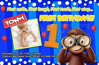 CURIOUS GEORGE 1ST BIRTHDAY PARTY INVITATION C1 CUSTOMIZABLE PHOTO -20 designs!!