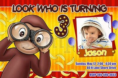 CURIOUS GEORGE 1ST BIRTHDAY PARTY INVITATION invite first card -20 designs!!