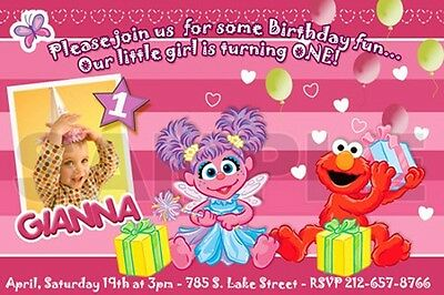 ELMO SESAME STREET BIRTHDAY PARTY INVITATION PHOTO 1ST C9 - abby cadabby first
