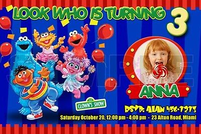 Elmo Sesame Street Birthday Party Invitation Photo 1St Custom Ticket- C6