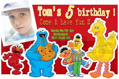 Elmo Sesame Street Birthday Party Invitation Photo 1St C8 - 24 Different Designs