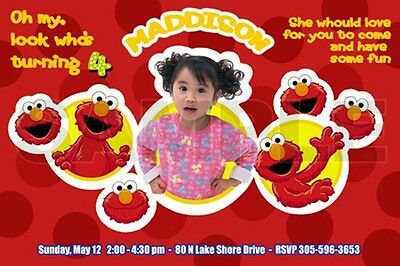 Elmo Sesame Street Birthday Party Invitation Photo 1St Custom Red- C7