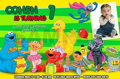 Elmo Sesame Street Birthday Party Invitation Photo 1St Customizable Custom - C3