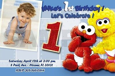 Elmo Sesame Street Birthday Party Invitation Photo 1St Baby- Babies First - C2