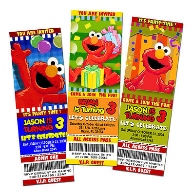 ELMO SESAME STREET BIRTHDAY PARTY INVITATION TICKET 1ST - customizable -c5