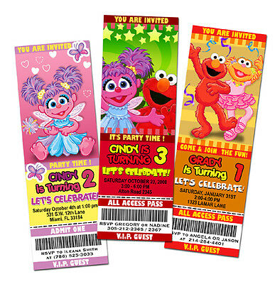 ELMO SESAME STREET BIRTHDAY PARTY INVITATION TICKET 1ST - abby cadabby -c2