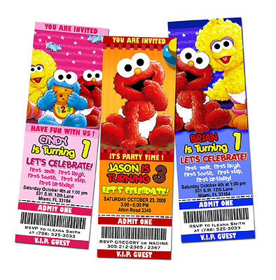 ELMO SESAME STREET BIRTHDAY PARTY INVITATION TICKET 1ST - baby babies first -c1