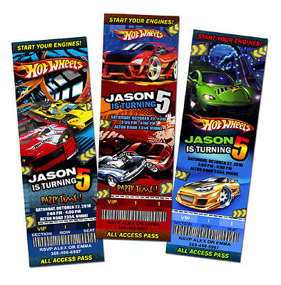 HOT WHEELS CARS RACE BIRTHDAY PARTY INVITATION TICKET 1ST personalized - c2