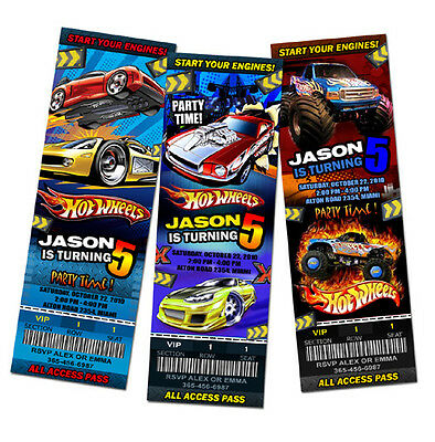 HOT WHEELS CARS RACE BIRTHDAY PARTY INVITATION TICKET 1ST customizable - c1
