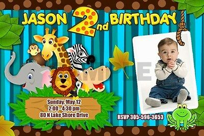 JUNGLE SAFARI ZOO 1ST BIRTHDAY PARTY INVITATION BABY SHOWER CUSTOM INVITES - p2