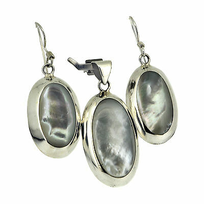 925 Sterling Silver White Mother-of-Pearl Elegant Jewelry Set