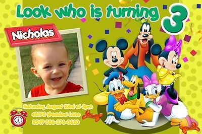 MICKEY DISNEY 1ST BIRTHDAY PARTY INVITATION C6 PHOTO CUSTOM INVITE -23 designs!!