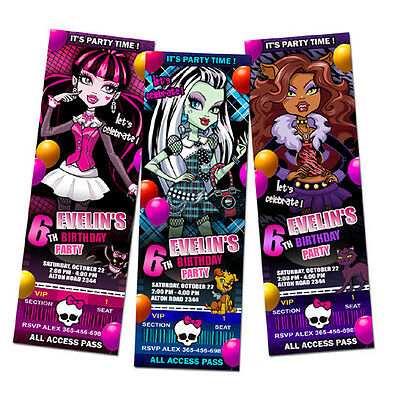 MONSTER HIGH BIRTHDAY PARTY INVITATION TICKET 1ST - c2 - customizable invites