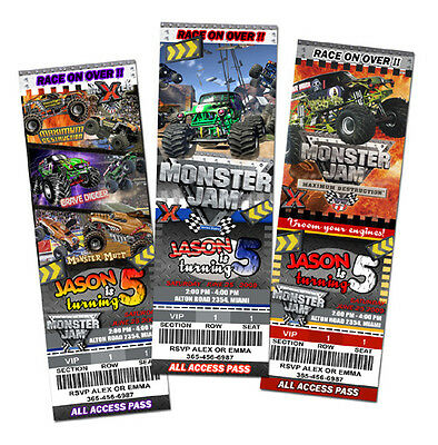 MONSTER JAM TRUCK BIRTHDAY PARTY INVITATION invite 1ST GRAVE DIGGER CUSTOM - c1