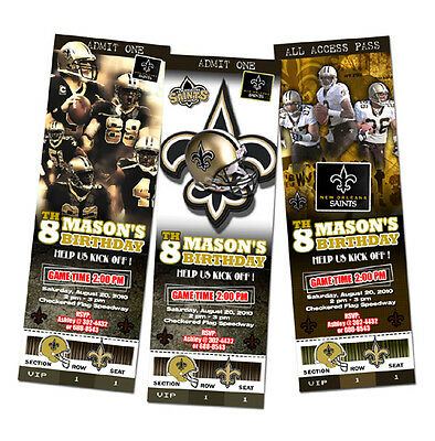 New Orleans Saints Birthday Party Invitation Ticket Football Custom Any Team