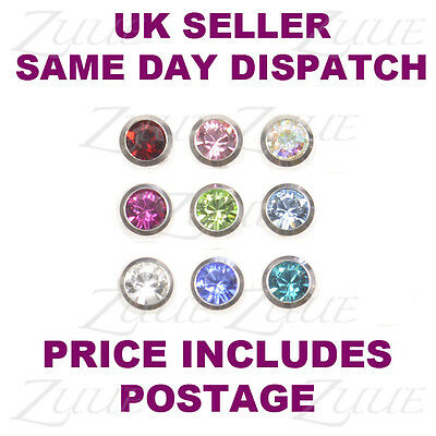 SPARE PIERCING BALLS 1.6mm JEWELLED 9 COLOURS LIP LABRET BELLY NAVAL BAR BODY