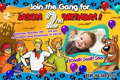 SCOOBY DOO BIRTHDAY PARTY INVITATION PHOTO CUSTOM 1ST first - 6 NEW DESIGNS !!