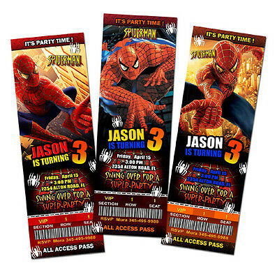 SPIDERMAN SUPER HERO BIRTHDAY PARTY INVITATION TICKET 1ST -c2 personalized cards