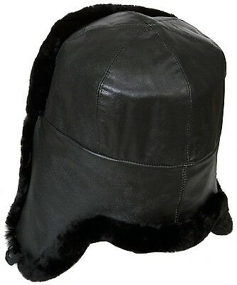 Naval officer mouton sheepskin Russian winter hat ushanka, Genuine Lamb Leather.