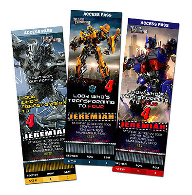 TRANSFORMERS BIRTHDAY PARTY INVITATION TICKET CARDS 1ST -C3 1 2 3 CUSTOM INVITE