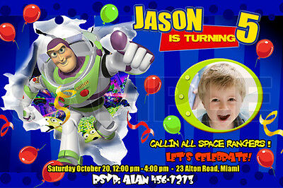 TOY STORY BIRTHDAY PARTY INVITATION PHOTO BUZZ 1ST - 1 2 3 /10 designs !! C12