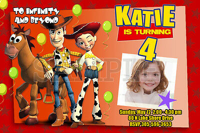 TOY STORY BIRTHDAY PARTY INVITATION PHOTO JESSIE 1ST - 1 2 3 WOODY 10 designs !!