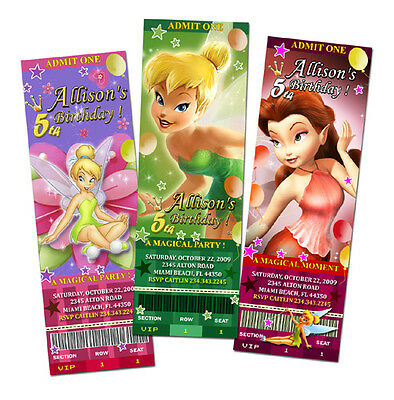 TINKERBELL FAIRIES BIRTHDAY PARTY INVITATION TICKET FIRST 1ST CUSTOM c2 photo