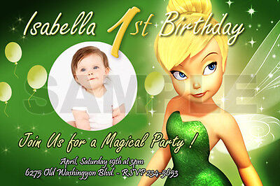 TINKERBELL FAIRIES BIRTHDAY PARTY INVITATION PHOTO 1ST BABY SHOWER -10 designs!!