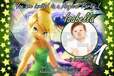 TINKERBELL FAIRIES BIRTHDAY PARTY INVITATION PHOTO 1ST CUSTOMIZABLE-10 designs!!