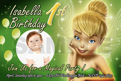 TINKERBELL FAIRIES BIRTHDAY PARTY INVITATION PHOTO 1ST INVITE CARD -10 designs!!