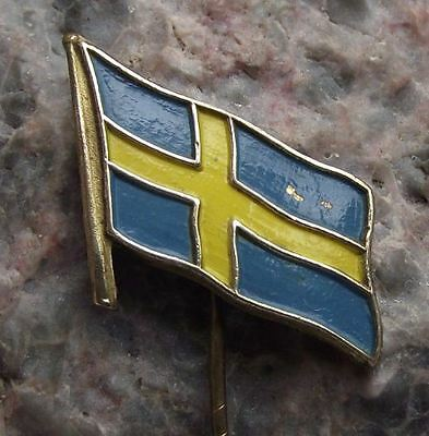 Sweden Swedish Scandinavian Cross National Flag Flying Fluttering in Wind Pin