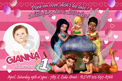 TINKERBELL FAIRIES BIRTHDAY PARTY INVITATION PHOTO 1ST INVITE FIRST -10 designs!