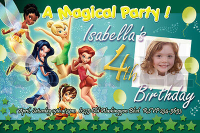 TINKERBELL FAIRIES BIRTHDAY PARTY INVITATION PHOTO 1ST CUSTOM BABY -10 designs!