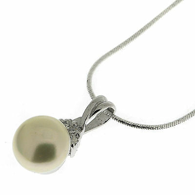 Silver Cultured White Pearl CZ Pendant & Snake Chain Necklace