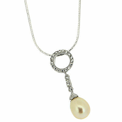 925 Sterling Silver Cultivated Pearl & White CZ Pendant Chain Necklace 45.0cm L