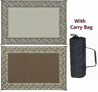 RV Camping Patio - Classical Mat RD7 Brown/Beige Reversible 6' x 9'