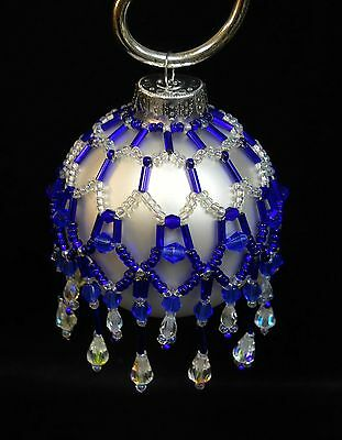 "PATTERN ONLY Beaded Christmas Ornament Cover Holiday Original ""Cobalt Magic"""