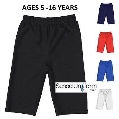Boys Girls Kids School Uniform Lycra PE Sports Gym Cycling Shorts Wear 5-16 yrs.