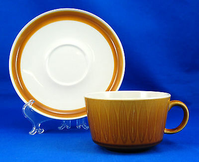 Franciscan China TOPAZ Flat Cup and Saucer Set 2.25 in. Embossed Ovals Tan Rim
