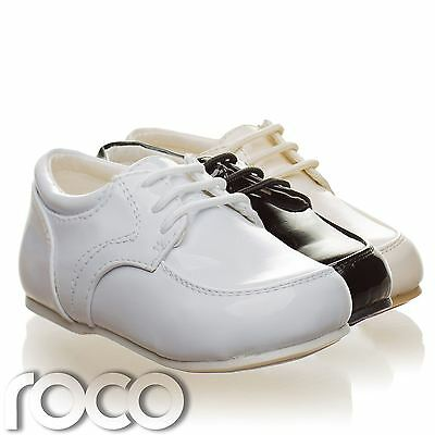 Childrens Baby Boys White Shoes Lace Up Wedding Page Boy Christening Kids Shoes