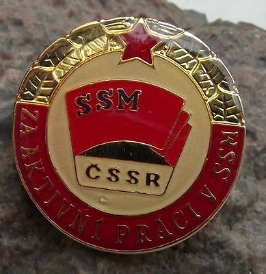 Active Worker Award with Red Star SSM CSSR Communist Youth Decoration Badge