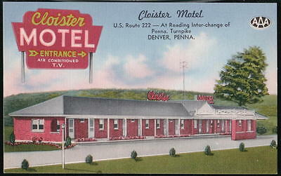 DENVER PA Cloister Motel US Route 222 Vintage Linen Postcard Old Roadside PC