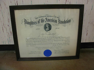 Antique 1914 National Society of Daughters of American Revolution Certificate